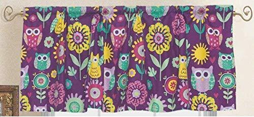 - Golden Linens One Piece Window Valance Printed Owl Flower Purple Microfiber Kids/Girl Window Valance # Owl