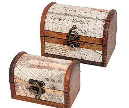 Set Of 2 Small Wood Treasure Chest With Decorative Nautical Map Pirate Chest For Kids Cofres De Madera Old Fashioned Trunk Pirate Treasure Chest With Lock Pirate Chest Storage Box Skull Wooden Gifts