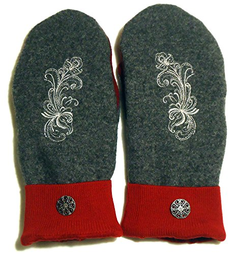 Integrity Designs Sweater Mittens, 100% Wool, Gray and Red Color with Polar Fleece Lining, Adult Size Large, Super Thick, Rosemaling Folk Art Motif Embroidery, Contrasting - Rosemaling Design
