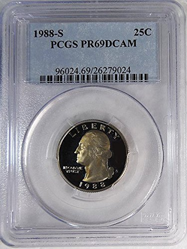 (1988 S Proof Washington Quarter Blue Label Holder Quarter PR 69 DCAM PCGS)