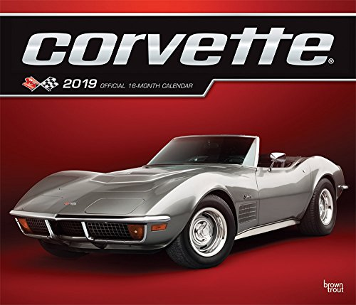 Corvette 2019 12 x 14 Inch Monthly Deluxe Wall Calendar with Foil Stamped Cover, Chevrolet Motor Muscle Car (English, French and Spanish ()