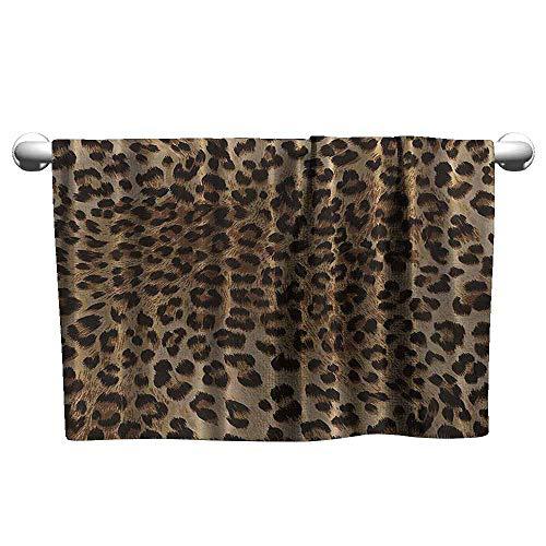 DUCKIL Absorbent Towel Leopard Print Sexy Nearly Natural Wildlife Safari Decorations Big Cat Theme Fur Skin Animal Print Extra Long Bath Sheet 10 x 10 inch Black Brown Beige -