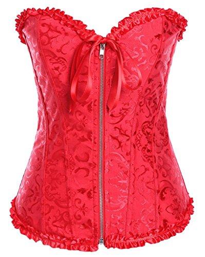 Womens Sexy Vintage Waist Cincher Overbust Zipper Front Lace up Corsets Bustier (Red,Medium)
