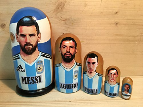 WORLD CUP 2018 ARGENTINA TEAM nesting dolls * 5 pcs/7 in - Argentina Doll