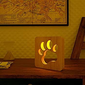 ABZON LED Night Lights Woody Night Lamp for Bedroom Hollowed Out Table Lamp Decor Bedroom Livingroom for Pet Lover USB-Powered.
