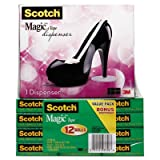 Magic Tape Value Pack with Black Shoe Dispenser, 3/4'''' x 1000'''', 12/Pack, Sold as 12 Roll
