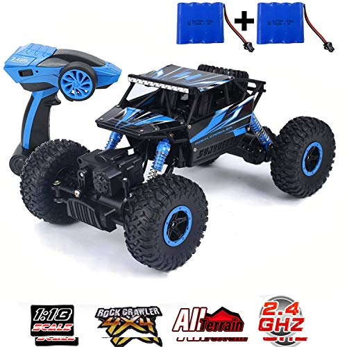 SZJJX RC Cars Off-Road Remote Control Car Trucks Vehicle 2.4Ghz 4WD Powerful 1: 18 Racing Climbing Cars Radio Electric Rock Crawler Buggy Hobby Toy for Kids Gift-Blue (Remote Controller Car)