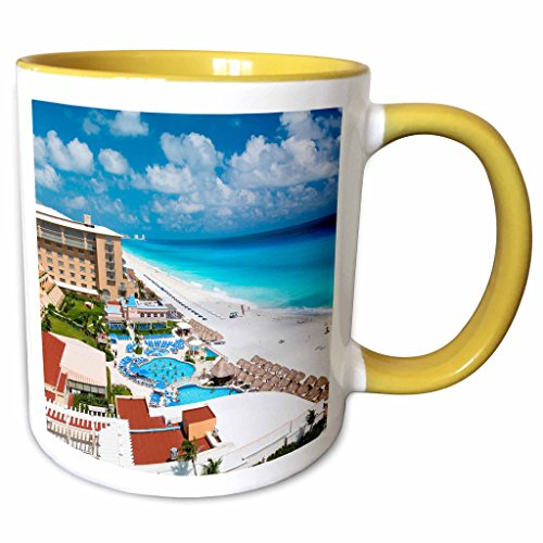(3dRose 86658_8 Resort, Cancun, Mexico-SA13 GJO0171-Greg Johns Ceramic Mug Yellow/White)