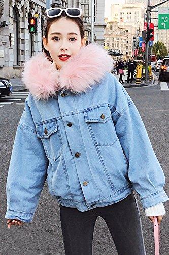 Autumn and winter new Korean Nagymaros collar hooded denim jacket schoolgirl wide prednisone plus thick velvet jacket tide for women girl