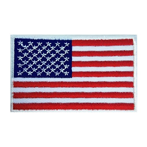 USA US American Flag Logo Embroidered Patch Sew on Iron On Applique 3.1