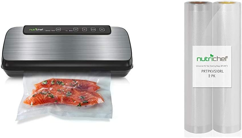 NutriChef Automatic Vacuum Sealer - Compact Vacuum Air Sealing System For Food Preservation, LED Light, Includes Starter Kit w/Two 8'' x 10'' 4 mil Commercial Grade Vacuum Sealer Food Storage Rolls