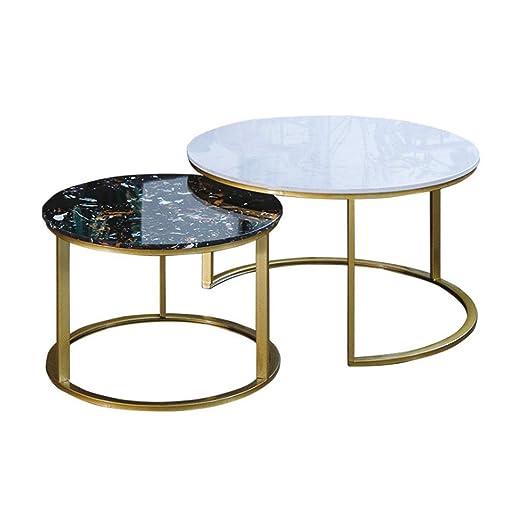 Mesa de Centro Redonda, Elegante Mesa de té de 2 Piezas, Mesa ...