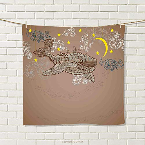 smallbeefly Whale Hand Towel Steampunk Whale Flying in The Air with Moons and Stars Artistic Hand Drawing Quick-Dry Towels Brown and White Size: W 20
