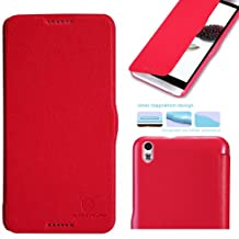 Nillkin Fresh Side Flip Pu Leather Cover Pc Hard Case Shell Compatible for HTC D816W HTC Desire 816, Retail Packaging, Red