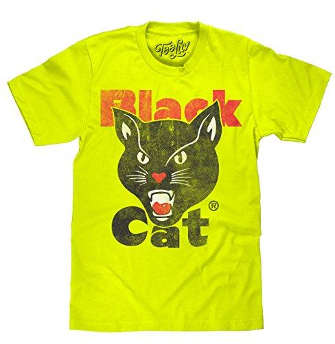 - Black Cat Fireworks T-Shirt - Licensed Black Cat Shirt (Yellow) (Small)