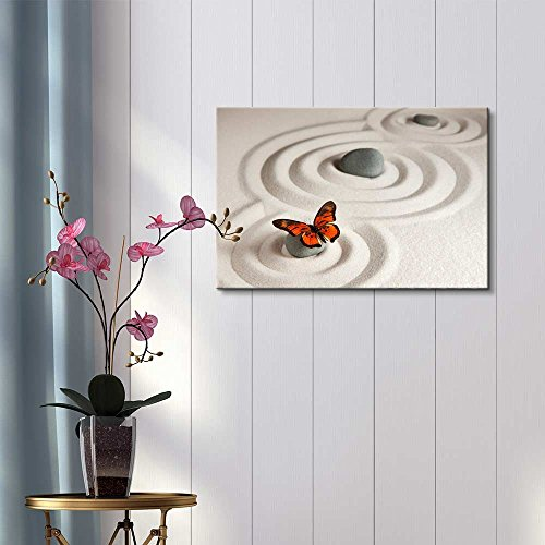 Circles on White Sand and Zen Rocks with Butterfly Wall Decor