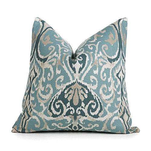 Blue Ikat Pillow Cover - Magnolia Home Fashions Winchester Spa Pillow Cover - 20 Different Sizes - Bottom Invisible Zipper Closure
