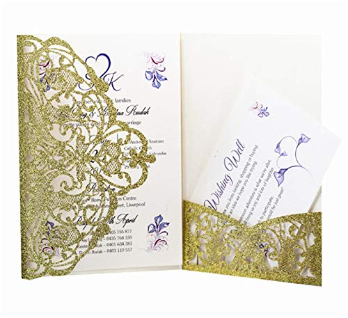 MegOK La Tarjeta de la invitación de la Boda con Purpurina Oro ...