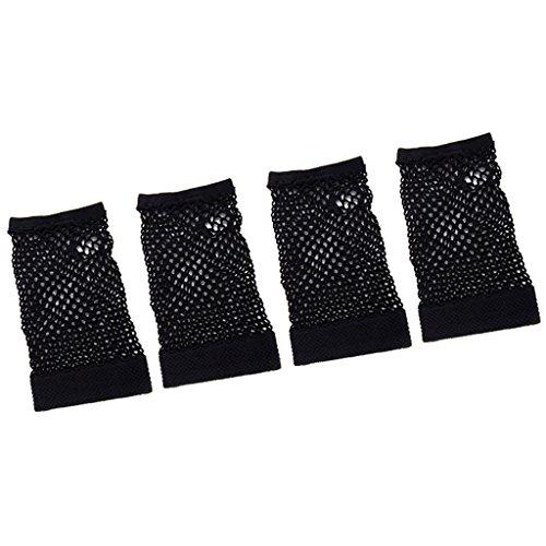 SONONIA 2ペア 網タイツ手袋 指なし ハーフグローブ アクセサリー 黒