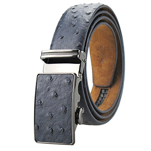 Men's Dress Leather Belt Blue Ostrich Embossed with Ratchet Automatic Buckle 49