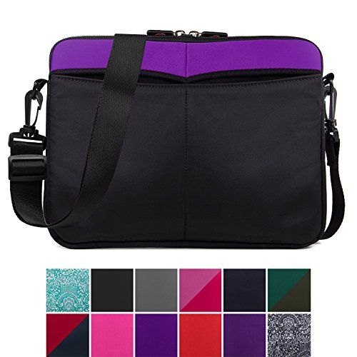 Kroo 12-13 Inch Laptop Sleeve Tablet Bag, Water Resistant Neoprene Notebook Computer Carrying Cover for MacBook, Microsoft Surface, Chromebook (Purple)