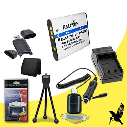 Halcyon 1200 mAH Lithium Ion Replacement NP-BK1 Battery and Charger Kit + Memory Card Wallet + SDHC Card USB Reader + Deluxe Starter Kit for Sony DSC-W370, DSC-S750, DSC-S780, DSC-S950, DSC-S980 Digital Cameras and Sony NP-BK1