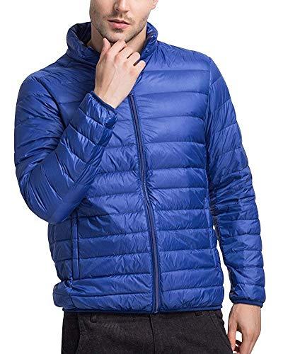 Saphirblau Men's Quilted Streetwear Coat Jacket Padded Jacket Jacket Down Jacket Jacket with Stand Jacket Collar Winter Outerwear 1rq1FxTaw