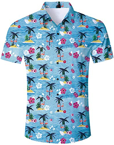 TUONROAD Boys Casual Tropical Vacation Aloha Short Sleeve Hawaiian Shirt Beach Themed Flamingos Palm Tree Big and Tall Funny Printed Pattern Summer Beach Costume Vintage Button Down Shirt]()