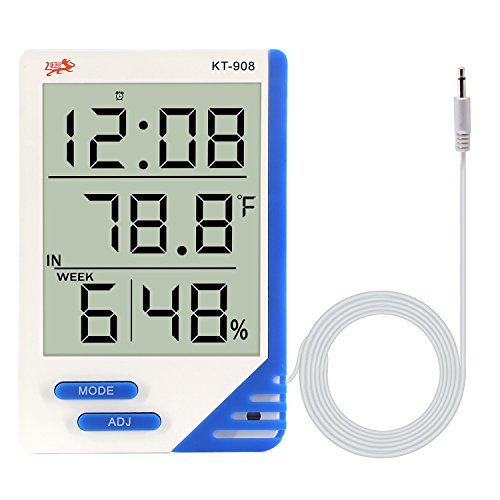 Digital Hygrometer Thermometer Large Display Humidity Temperature Monitor Indoor Outdoor with Alarm Clock for Household,Kids Home,Kitchen,etc(1 Pack)