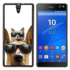 Gato Gran danés Sunglasses Shades verano- Metal de aluminio y de plástico duro Caja del teléfono - Negro - Xperia C5 E5553 E5506 / C5 Ultra