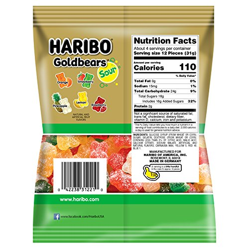 Haribo Gummi Candy, Goldbears Gummi Candy, Sour, 4.5 oz. Bag (Pack of 12) by Haribo (Image #1)