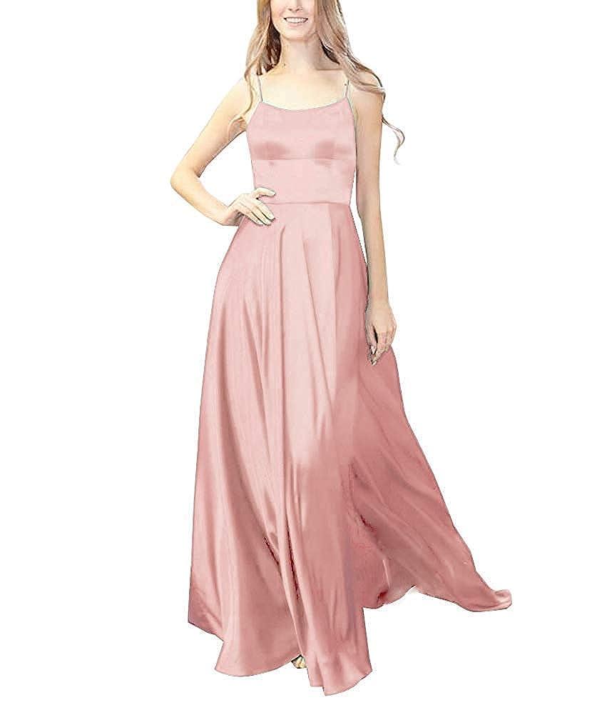 bluesh XSWPL Womens Halter Prom Dresses Long Split ALine Spaghetti Evening Gowns with Pockets