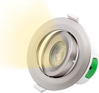 Lampara Plafon Foco Downlight de Empotrar LED Angular en Techo Plástico Níquel Luz Cálida 3000K 9W Agujero del Techo Diámetro 85-90MM AC100~240V Pack de 1 de Enuotek: Amazon.es: Iluminación
