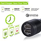 Car Charger with Dual USB Port and Stainless Steel Emergency Harmmer, Mini Portable QC3.0 Quick Charger for IOS Android Mobile Phones and Tablets