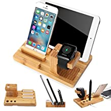 SEGMOI® Handmade Natural Bamboo Wood USB Charging Dock Station for Apple Watch and Bracket Desk Holder Cradle Stand For iPhone iWatch iPad Smartphones Tablets (Natural Wood)