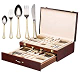 DIZORA 75-Piece Flatware Set for 12, Premium 18/10 Surgical Stainless Steel Silverware Cutlery Dining Service, 24K Gold-Plated Hostess Serving Set, Gift Wooden Storage Case (Imperial - Gold)