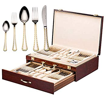 Image of Flatware Sets DIZORA 75-Piece Flatware Set for 12, Premium 18/10 Surgical Stainless Steel Silverware Cutlery Dining Service, 24K Gold-Plated Hostess Serving Set, Gift Wooden Storage Case (Imperial - Gold)