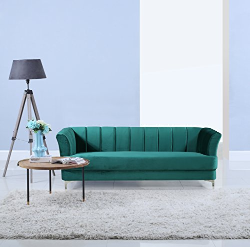 Elegant Classic Living Room Velvet Sofa - Colors Blue, Green, Grey, Red (Green)