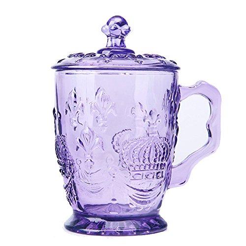 Crown Multi-colored Glass Drinking Glasses, Jar Beer Mug/cups Embossed