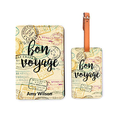 (Personalized Passport Holder Luggage Tag Set - Bon Voyage Travel Quote)