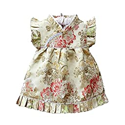 Buenos Ninos Girls Short Sleeve Cheongsam Baby Qipao Patterned Cloth Set Champagne Peony S