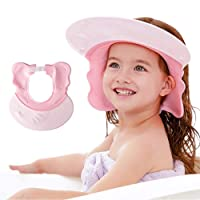 Baby Shower Cap Silicone Shower Visor Bathing Hat, Maydolly Shower Cap Infants Soft Protection Safety Visor Cap for Toddler Children, Pink
