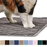 Gorilla Grip Original Premium Durable Cat Litter Mat - 35x23 - XL Jumbo - No Phthalate - Water Resistant - Traps Litter from Box and Cats - Scatter Control - Soft on Kitty Paws - Easy Clean Cat Mat - Gray