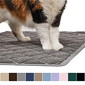 Gorilla Grip Original Premium Durable Cat Litter Mat, 35x23, XL Jumbo, No Phthalate, Water Resistant, Traps Litter from Box and Cats, Scatter Control, Soft on Kitty Paws, Easy Clean Cat Mat, Gray 78