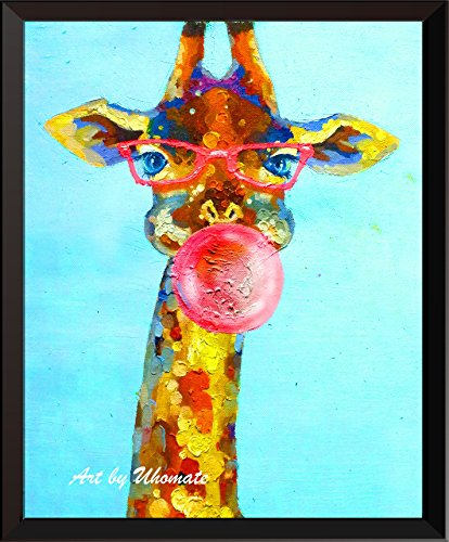 - Uhomate Watercolor Giraffe with Bubbles Print Original Giraffe Painting Cute Animal Canvas Wall Art Print Poster Baby Gift Nursery Decor Living Room Wall Decor A142 (13X19)