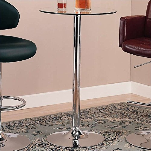 Coaster Bar Table with Glass Top in Polished Chrome Finish (Chrome Coasters)