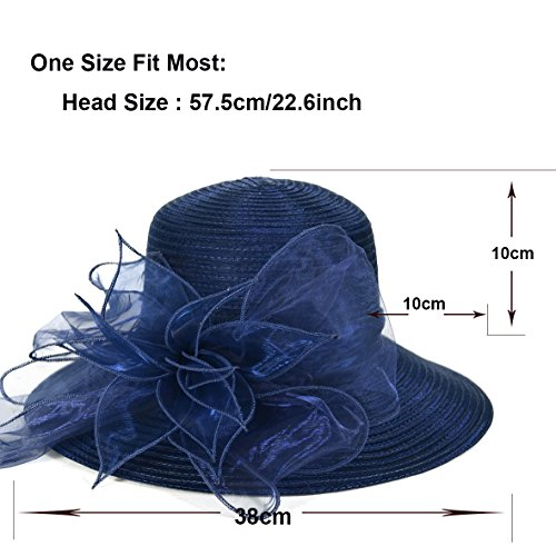 b57f67e79f8 Kentucky Derby Dress Church Cloche Hat Sweet Cute Floral Bucket Hat  (Leaf-Navy)