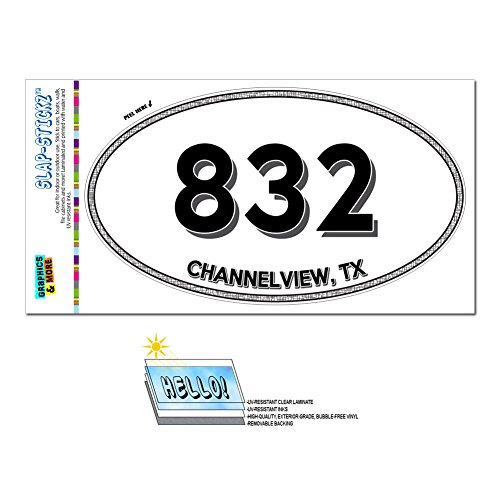 Graphics and More Area Code Euro Oval Window Bumper Laminated Sticker 832 Texas TX Alvin - Tomball - Channelview