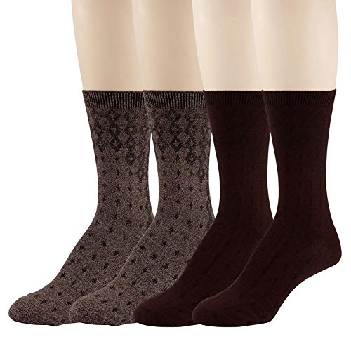 Women's Dress Crew Socks - 4 Pack - Burgundy & Brown Diamond Pattern Lightweight, Soft Mid-Calf Short Trouser Sock – by PEDS, Brown One - Brown Burgundy With
