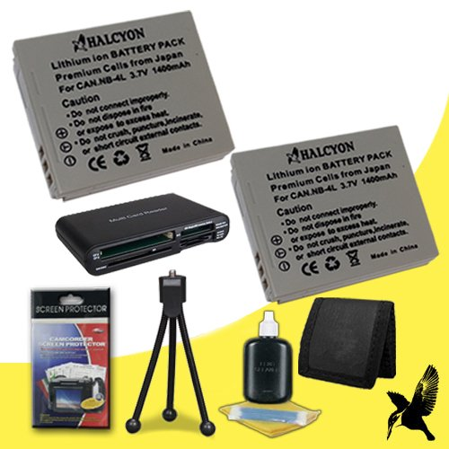 Two Halcyon 1400 mAH Lithium Ion Replacement NB-4L Battery + Memory Card Wallet + SDHC Card USB Reader + Deluxe Starter Kit for Canon PowerShot ELPH SD600 6.0 MP Digital Camera and Canon NB-4L by Halcyon
